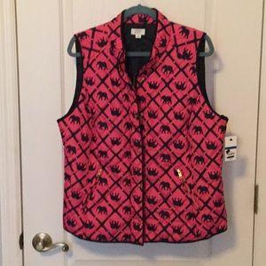 Crown & Ivy Hot Pink & Navy Elephant Vest NWT